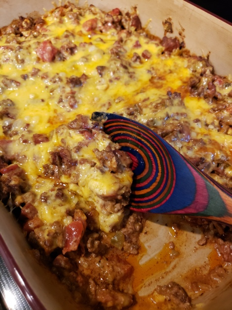 taco casserole in a pampered chef backing dish